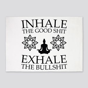 Yoga: Inhale the good shit 5'x7'Area Rug